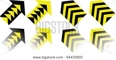 Yellow Black vector arrows
