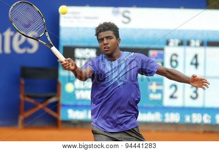 BARCELONA - APRIL, 22: Swedish tennis player Elias Ymer in action during a match of Barcelona tennis tournament Conde de Godo on April 22, 2015 in Barcelona