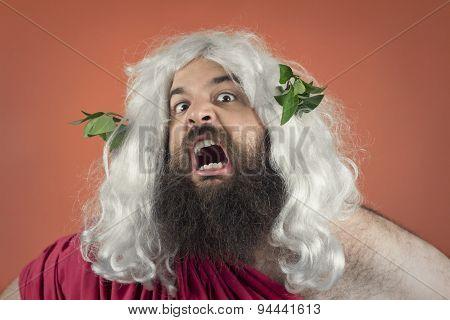 Angry yelling wrath of god against orange background