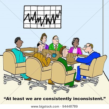 Business cartoon of meeting and chart that shows 'consistently inconsistent' business results. poster