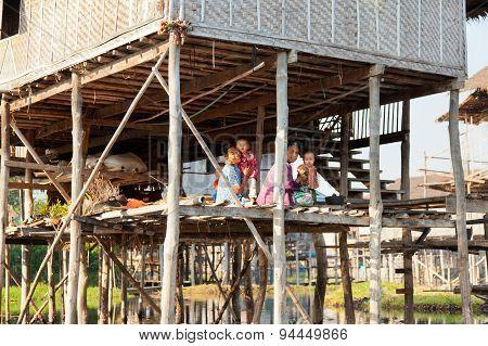 Local People In Inle Lake, Myanmar