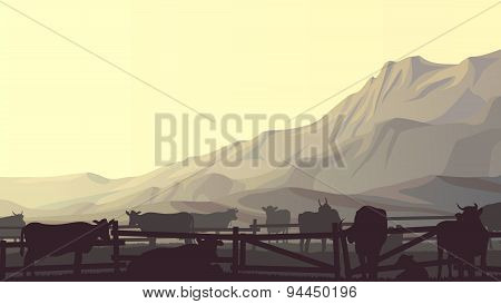 Horizontal Illustration Of Farm Pets In Background Mountains.