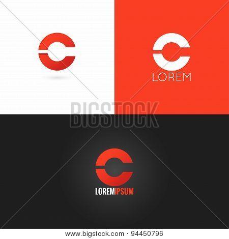 letter C logo design icon set background