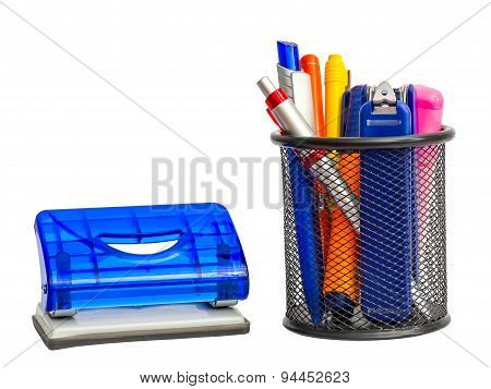 Stationary Holder With School And Office Items And Puncher.