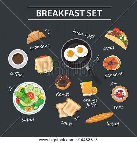 Set Of Breakfast Menu On Chalkboard