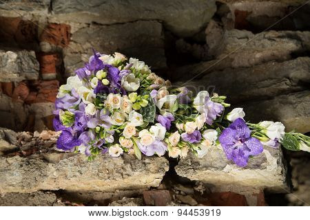 Bridal Bouquet With Purple Orchid And White Freesias
