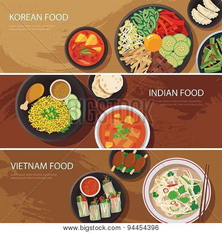 Asia Street Food Web Banner , Korean Food , Indian Food , Vietnam Food Flat Design