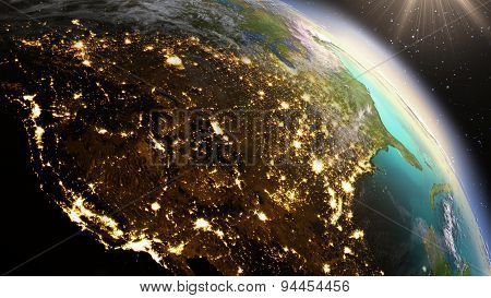 Planet Earth North America Zone. Elements Of This Image Furnished By Nasa