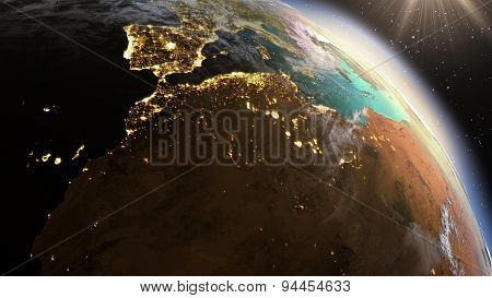 Planet Earth North Africa Zone. Elements Of This Image Furnished By Nasa