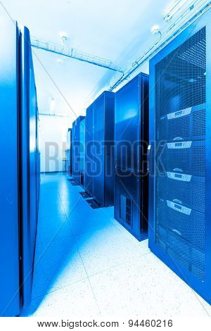 network server room with racks poster