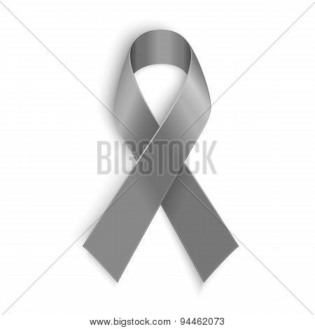 Grey ribbon symbol of borderline personality disorder, diabetes, asthma and brain cancer awareness