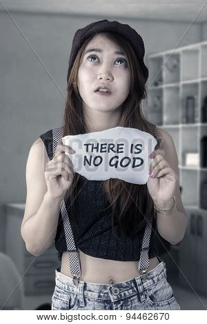 Frustrated Girl Is Not Trust In God