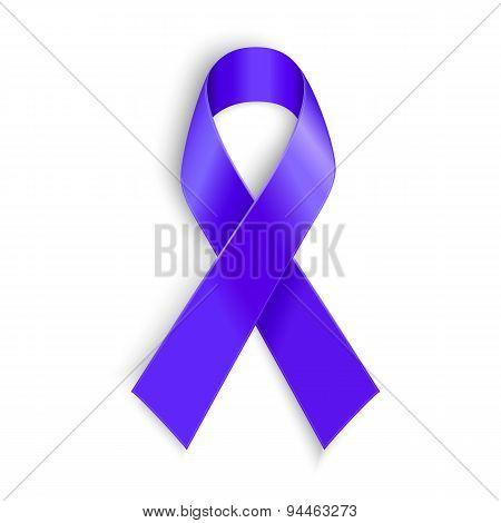 Purple ribbon as symbol of cancer awareness, drug overdose, domestic violence, Alzheimer disease