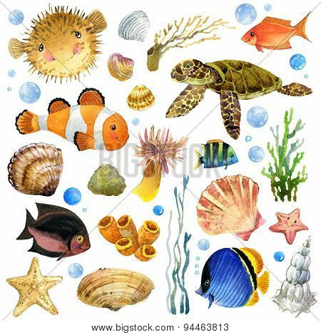 underwater world set. coral reef fish watercolor illustration