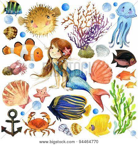 underwater world. Mermaid watercolor illustration for children