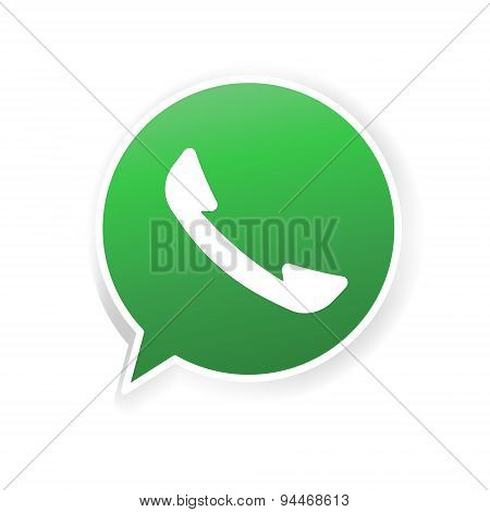 Green phone handset in bubble icon. Message, app, communication, business, sotial. Stock vector illu