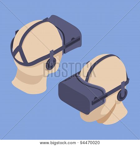 Set of the isometric virtual reality headsets. The objects are isolated against the light-violet background and shown from two sides poster