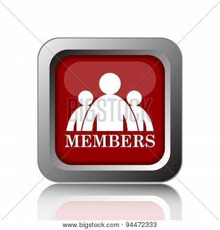 Members icon. Internet button on white background poster