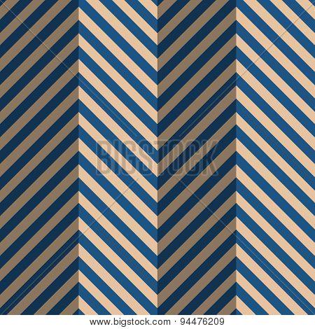 Retro Fold Blue Striped Zigzag