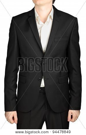 Dark Grey Mens Blazer Two Buttons, White Shirt Without Tie