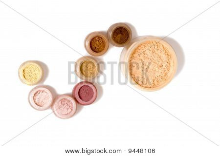 Set Of Multicoloring Powder And Other Cosmetics