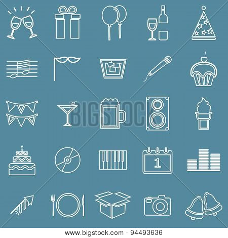 New Year Line Icons On Blue Background