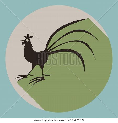 Cock silhouette with long shadow