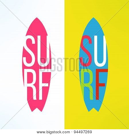 Vector surf typography on surfing board in modern flat design. T-shirt surfboard graphic with long s