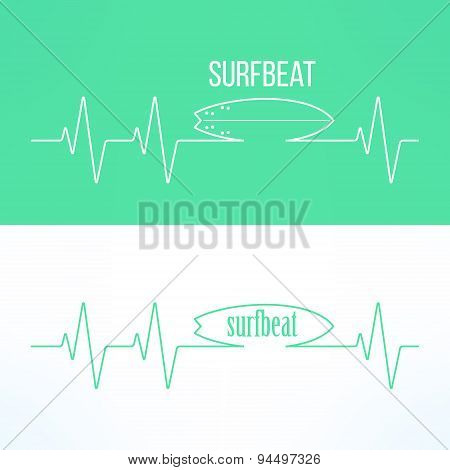Vector surf surfbeat creative background and logo. Surfing t-shirt print