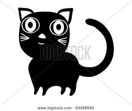 Simple black stylized cat with big eyes isolated on white
