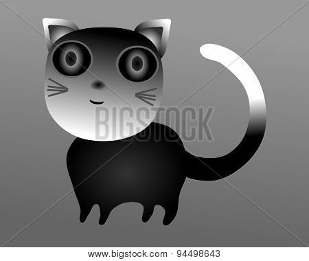 Simple stylized cat with big eyes