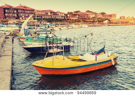 Small Wooden Boats In Nesebar