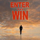 Enter to Win, message on the sky. poster