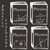 Set of physics textbooks on school board. Freehand drawing. Physics elements poster
