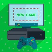 Modern video game consoles like joystick and the screen is ready for the game. Vector Illustration poster