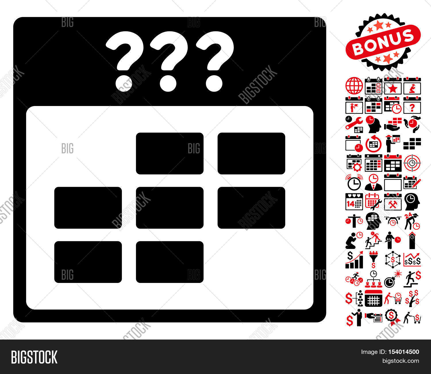 Unknown month calendar grid pictograph with bonus calendar and time management pictograph collection glyph illustration