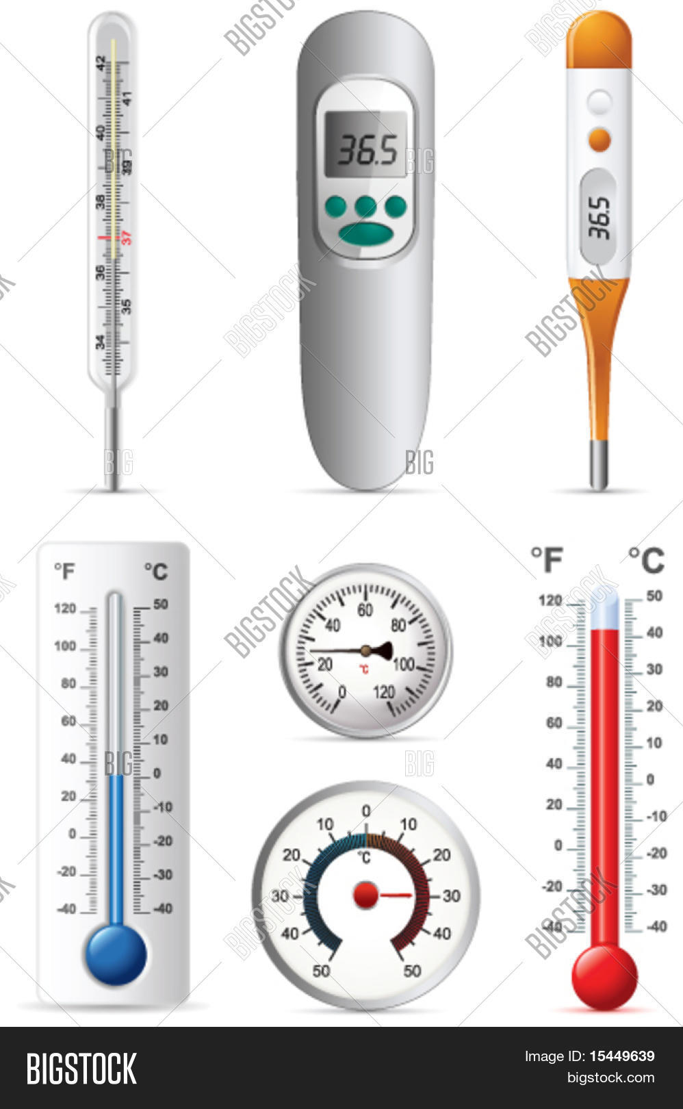 6 Different Types Of Artificial Nails You Can Try: Six Different Types Thermometers Vector & Photo
