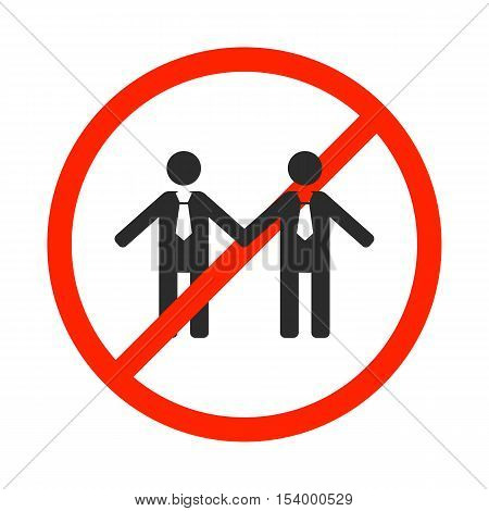 Round prohibition sign for gays and same-sex marriage isolated on white background love couple icon vector illustration.