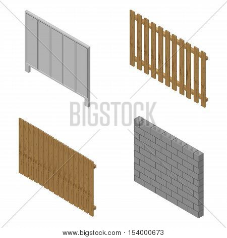 A set of isometric spans fences of various materials. Wood concrete and cinder blocks. Isolated on white background. Elements of buildings and landscape design vector illustration.