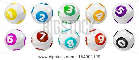 Lottery Number Balls. Colored balls isolated. Bingo ball. Bingo balls with numbers. Set of colored balls. Lotto concept. Bingo balls set.