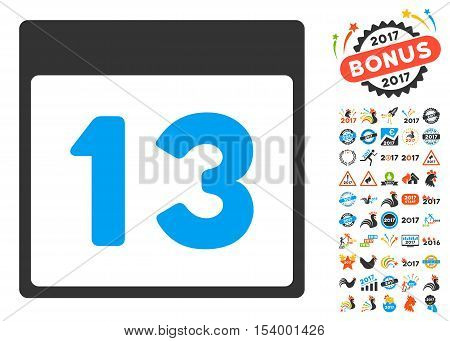 Thirteenth Calendar Page pictograph with bonus calendar and time management icon set. Glyph illustration style is flat iconic symbols, blue and gray colors, white background.