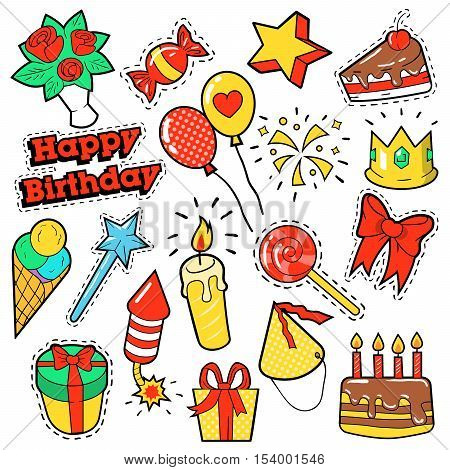 Fashion Badges, Patches, Stickers Birthday Theme. Happy Birthday Party Elements in Comic Style with Cake, Balloons and Gifts. Vector illustration
