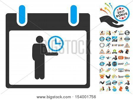 Time Manager Calendar Day icon with bonus calendar and time management design elements. Glyph illustration style is flat iconic symbols, blue and gray colors, white background.