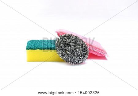 Group of scouring pads isolated on white background.