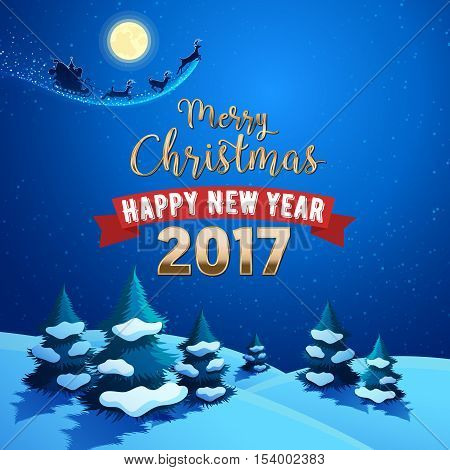 Merry Christmas Nature Landscape with Santa Claus Sleigh and Reindeers on the Moonlit Sky. Winter Holidays Greeting Card. Vector background