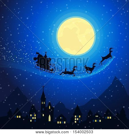 Merry Christmas Town Mountain Landscape with Santa Claus Sleigh with Reindeers Flying on the Moonlight Sky. Winter Holidays Greeting Card. Vector background