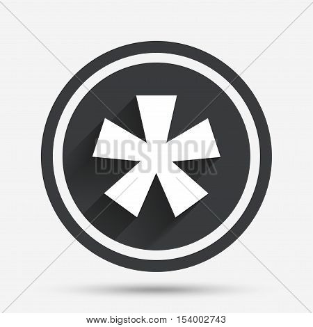 Asterisk footnote sign icon. Star note symbol for more information. Circle flat button with shadow and border. Vector