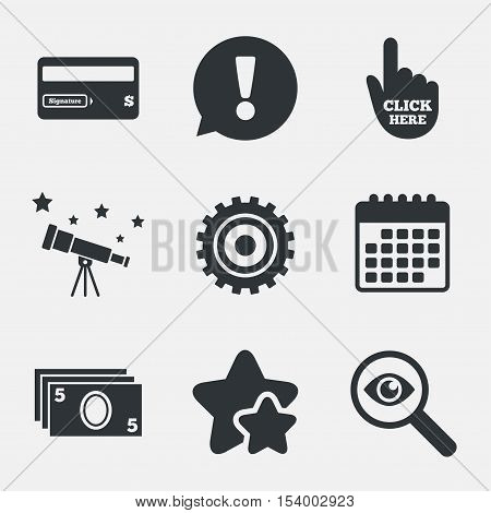ATM cash machine withdrawal icons. Insert bank card, click here and check PIN, processing and get cash symbols. Attention, investigate and stars icons. Telescope and calendar signs. Vector