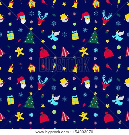 Merry Christmas and Happy New Year Seamless Pattern with Santa and Christmas Elements. Winter Holidays Wrapping Paper. Vector background