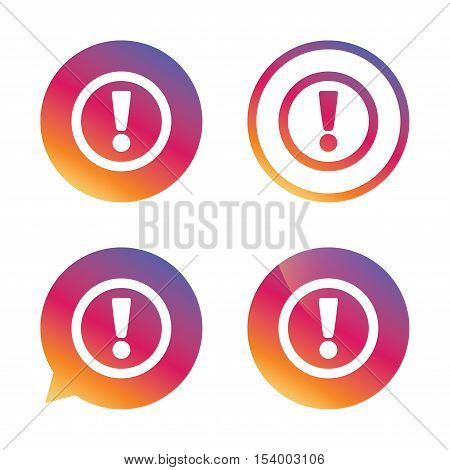 Attention sign icon. Exclamation mark. Hazard warning symbol. Gradient buttons with flat icon. Speech bubble sign. Vector
